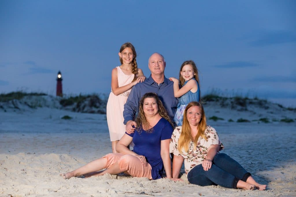 Family portrait in front of the Ponce Deleon Lighthouse near cocoa beach