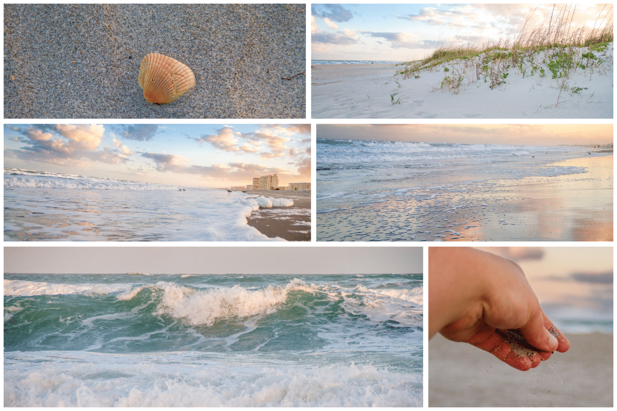 Cocoa beach collage of cocoa beach photography at sunset, waves, sand, shell and sunset