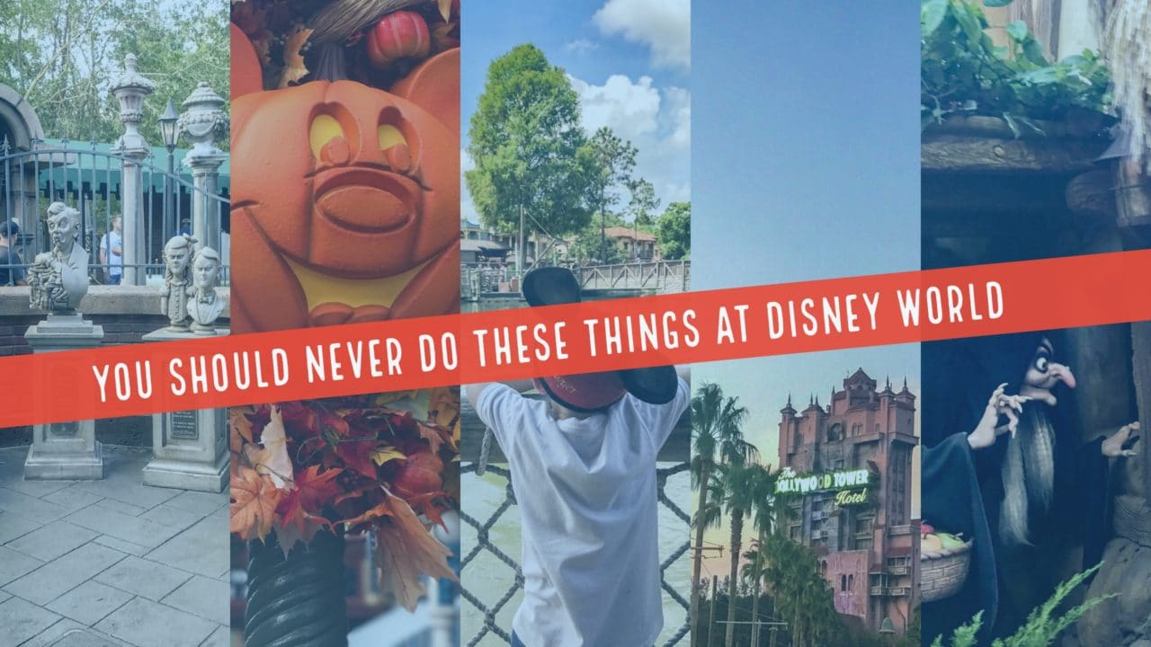 Disney photography blog header for post about what to never do at Disney World's magic kingdom, Hollywood studios, Epcot and animal kingdom by orlando portrait photographers