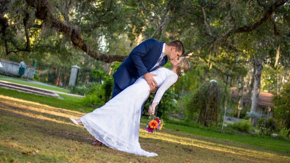 A formal wedding portrait at sugar Mill Gardens in port Orange Florida