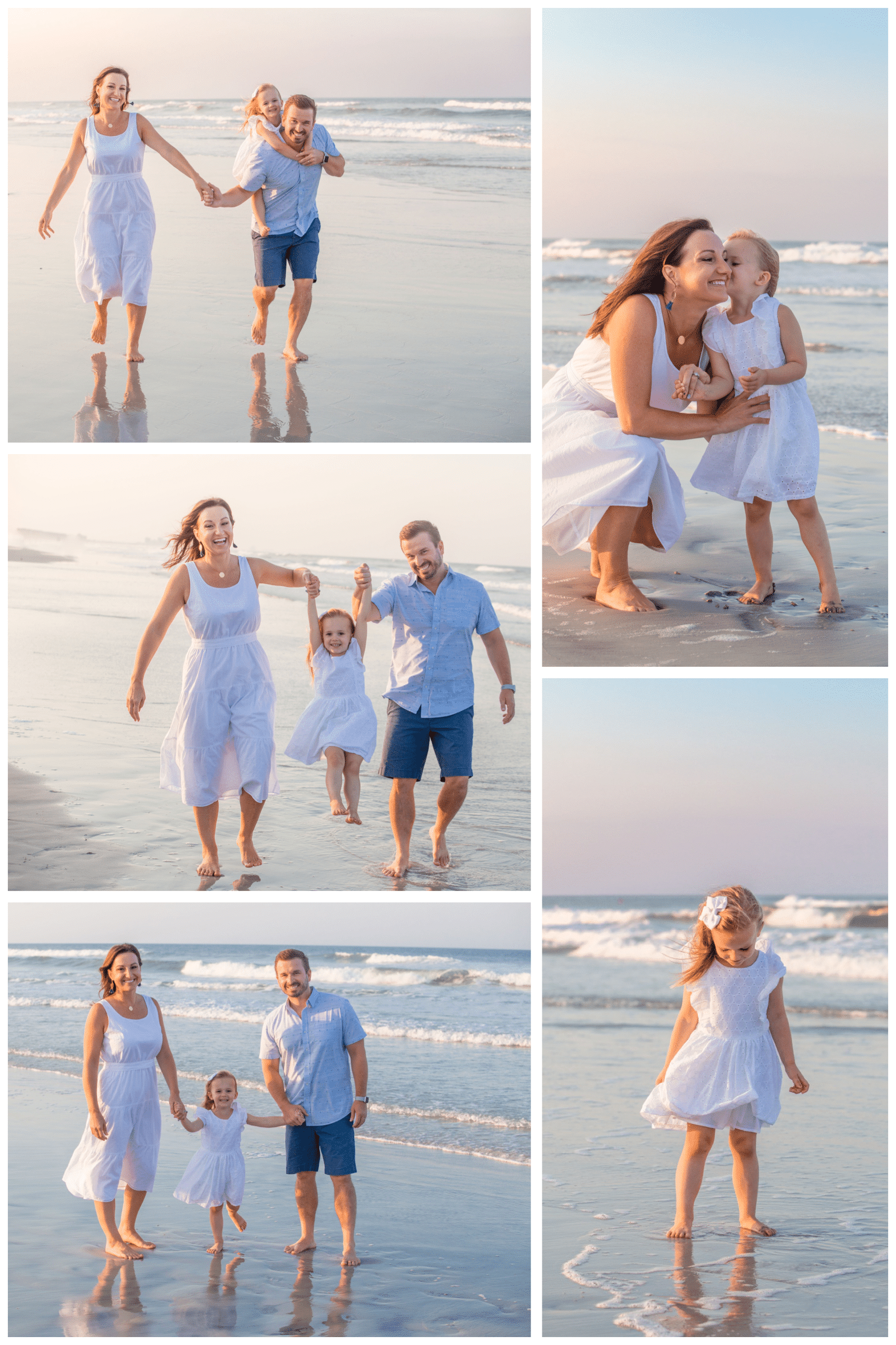 jacksonville beach family photos of family wearing white and blue