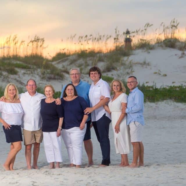 New Smyrna beach family photography portrait by lighthouse