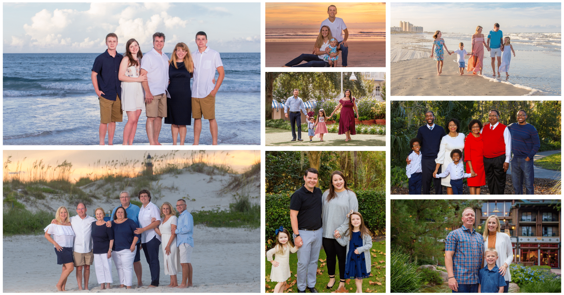 A collage of family photos by a new Smyrna beach photographer
