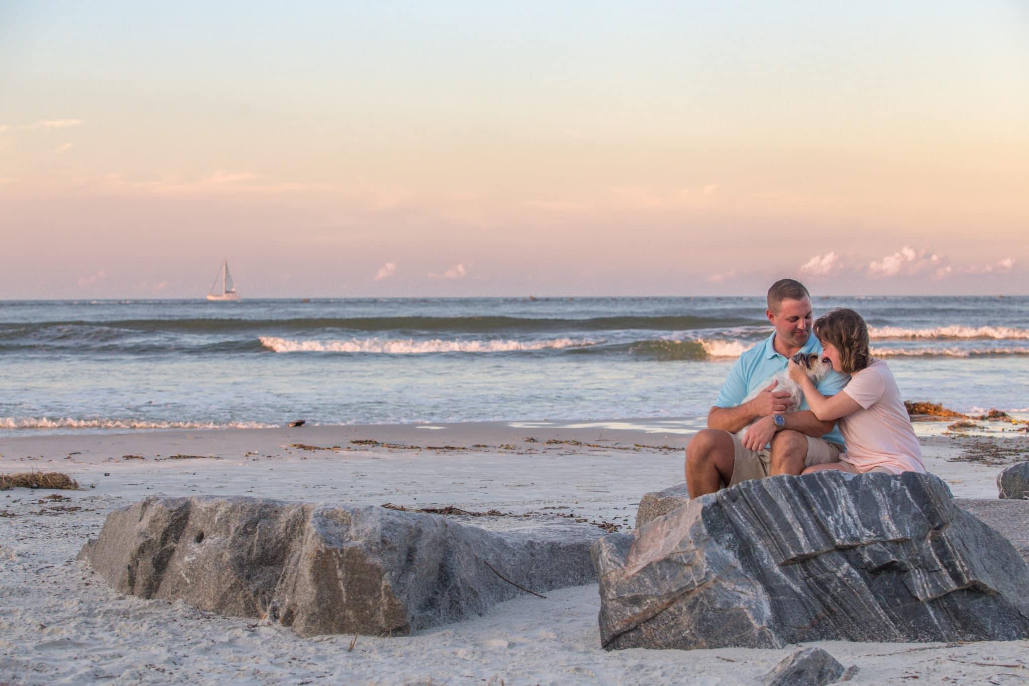 Smyrna dunes park couple portrait by photographers in new Smyrna Beach FL